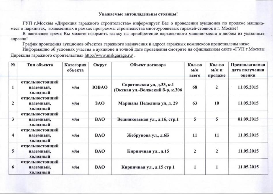 дирекция гаражного строительства москвы